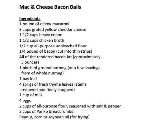International Bacon Day - Saturday before Labor Day - bacon mac & cheese balls Ingredients